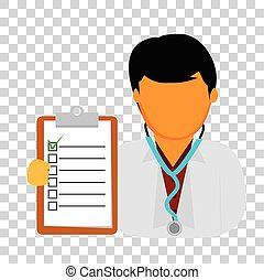 Doctor Man Holding Checklist Paper, at Transparent Effect ...
