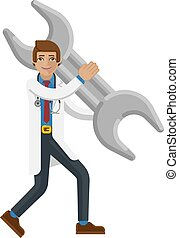 Doctor Man Holding Spanner Wrench Concept Mascot
