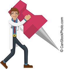 A doctor cartoon character mascot man holding a big thumb tack map drawing pin concept