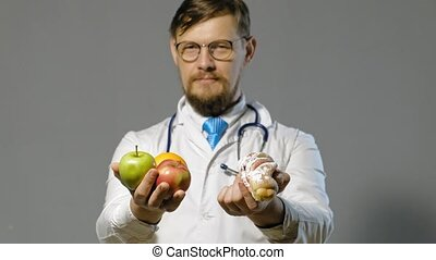 doctor man in white coat on gray background, medicine...