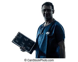 doctor man medical exam silhouette