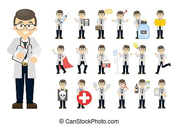 Doctor man set. Posing and activities on white.