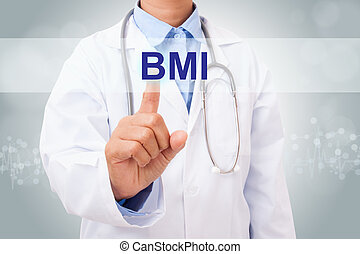 doctor, mano, conmovedor, bmi, señal, en, virtual, screen., concepto médico