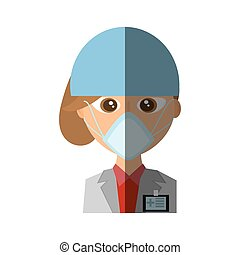 doctor mask medical surgical cap vector illustration eps 10