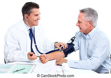 Doctor and patient with blood pressure meter isolated over white. Health.