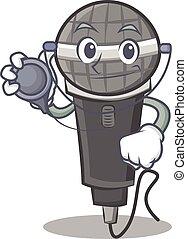 Doctor microphone cartoon character design
