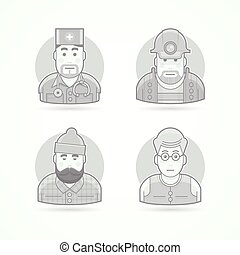 Doctor, mines worker, lumberjack, teacher icons. Avatar and person illustrations. Flat black and white outlined style.