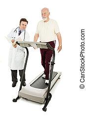 Doctor Monitors Senior on Treadmill