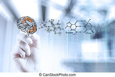 doctor neurologist hand drawing brain with computer interface as