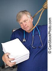 Doctor, noose and regulatory paperwork - A doctor peers...