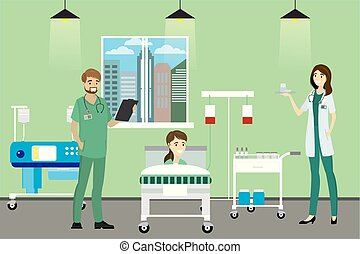 Doctor, nurse and patient in the Hospital room