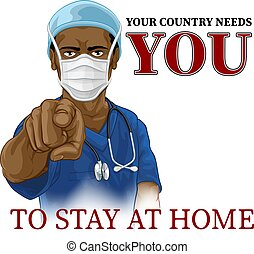 Doctor Nurse Needs You Stay Home Pointing Poster