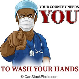 Doctor Nurse Needs You Wash Hands Pointing Poster