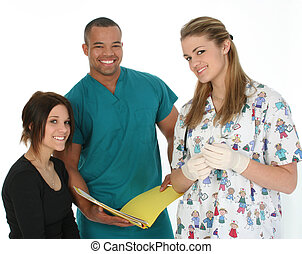Doctor Nurse Patient - Doctor holding file, nurse holding...