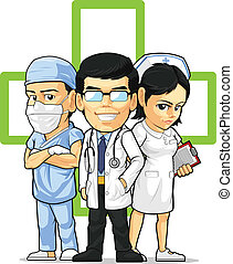 A vector set of medical/healthcare workers : doctor, nurse and surgeon. Drawn in cartoon style, this vector is very good for design that need health care element or mascot in cute, funny, colorful and cheerful style.