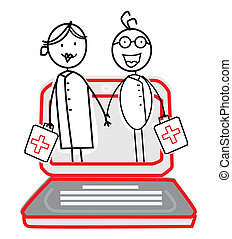 doctor & nurse with Online Service