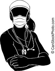 A doctor or nurse woman in silhouette wearing scrubs and PPE mask