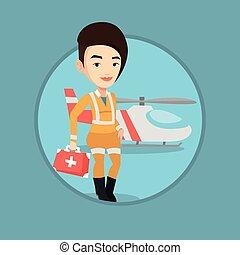 Doctor of air ambulance vector illustration.