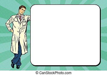 Doctor of medicine next to a poster pop art retro vector,...
