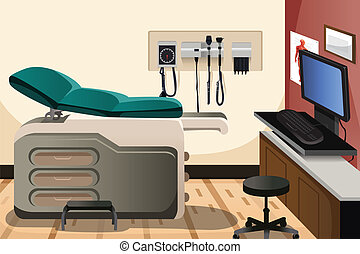 A vector illustration of doctor office with copyspace