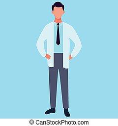 Doctor on a blue background. Vector illustration