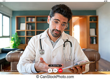 Doctor on a video call with a patient.