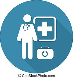 Doctor on Duty Icon. Flat Design. - Doctor on Duty Icon....