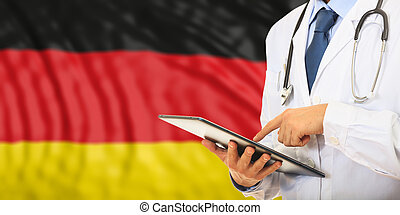 Doctor on Germany flag background. 3d illustration