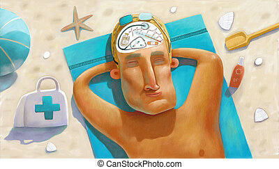 Illustration of doctor fell asleep on the beach and thinking about work