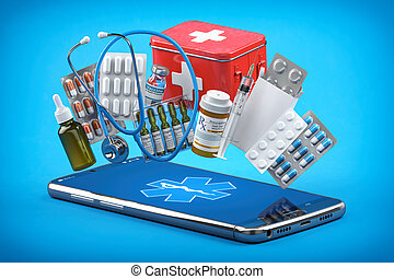 Doctor online and medical assistance by mobile phone. Smartphone with meds, pills, first aid kit and stethoscope.