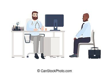 Doctor or medical adviser sitting at desk with computer and giving consultation to male patient. Man at physician s office, clinic or hospital. Colorful cartoon vector illustration in flat style.