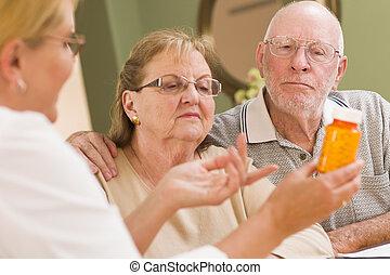Doctor or Nurse Explaining Prescription Medicine to Attentive Senior Couple.