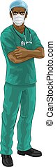 A doctor or nurse medical healthcare professional character wearing scrubs uniform. With arms folded and serious but caring look. Wearing PPE including face mask.