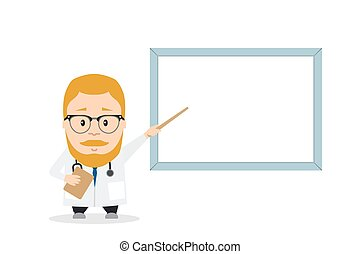 Doctor or PhD presentation with pointer near board. flat...