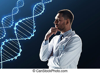 doctor or scientist in white coat with dna - science,...