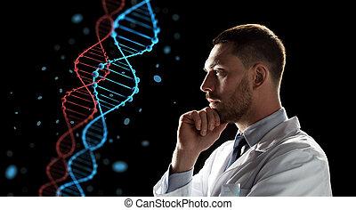doctor or scientist looking at dna molecule - genetics,...