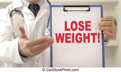Doctor order patient to lose weight - Doctor wearing a...