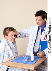 Doctor patient checkup - Doctor checks up on a young patient