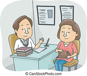 Doctor Patient Checkup - Illustration of a Doctor Discussing...