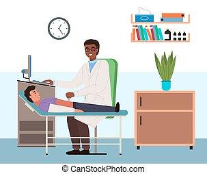 doctor, patient., gente, ultrasonido, oficina, conductas, gastroenterologist