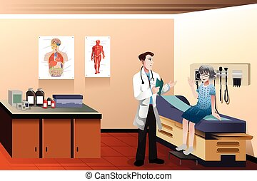 A vector illustration of male doctor and senior patient in the clinic
