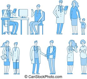 Doctor patients. Doctors nurse talking to man, old woman senior patient visit clinic. Treatment healthcare linear vector characters