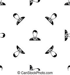 Doctor pattern seamless black