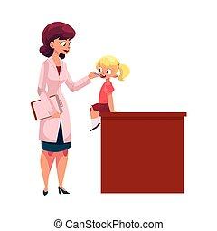 Doctor, pediatrician checking girl throat