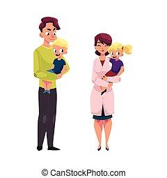 Doctor, pediatrician, father holding girl, boy