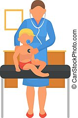 Doctor perform medical baby examination at hospital, vector illustration. Child at pediatrician clinic, infant healthcare.