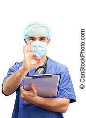 Doctor physician approval OK hand sign isolated in white...