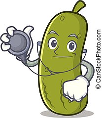 Doctor pickle character cartoon style