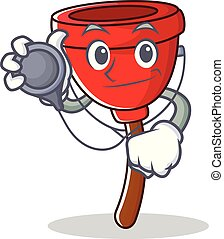 Doctor plunger character cartoon style vector illustration