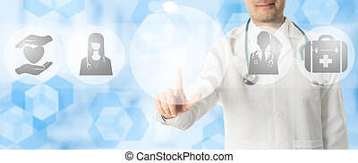 Doctor Points at Copy Space with Medical Icons